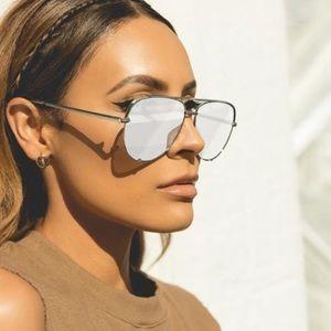 Quay High Key silver aviator sunglasses
